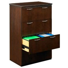 National Office Furniture Four Drawer Lateral File by National Office Furniture. $1829.00. Four Drawer Lateral File features timeless craftsmanship and quality. Features include prominent cornice and satin nickel hardware. Finished in rich Amber Cherry, Cordovan, and Mocha veneers, the Escalade line reflects the extraordinary qualities that set you apart from the rest.Drawers have full extension glides and accommodate for letter or legal documents. Unit locks for securi...