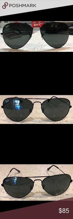 Ray-Ban Aviators Black Frame/Black Lens. Glasses are Authentic and brand new! Comes with original case and cleaning cloth. Will ship out within 1 day guaranteed excluding weekends. Ray-Ban Accessories Sunglasses