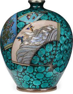 A cloisonné-enamel vase By Miwa Tomisaburo, Meiji era (late century) Porcelain Jewelry, Fine Porcelain, Porcelain Ceramics, Painted Porcelain, Hand Painted, Japanese Porcelain, Japanese Pottery, Ceramic Tableware, Ceramic Pottery