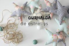 DIY: GUIRNALDA DE ESTRELLAS Dinosaur Stuffed Animal, Crafty, Html, Animals, Diy Stuff, Garlands, Scrappy Quilts, Soothing Colors, Fabric Garland