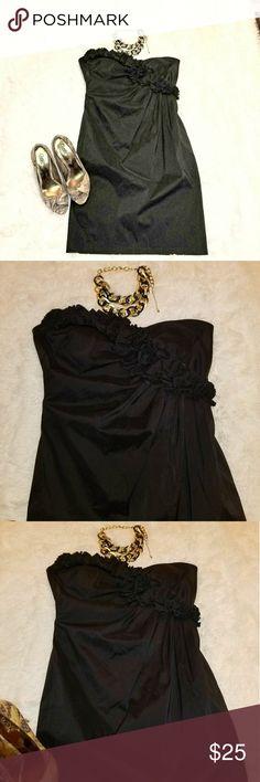 Maggy London Black Strapless Dress Black Strapless dress with ruffle design EUC Maggy London Dresses Mini