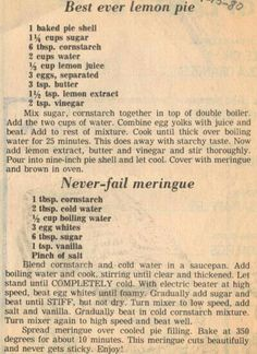 Recipe clipping for best ever lemon pie best weight watchers dessert! ww lemon idea quick easy weight watchers diet recipe lemon pie in a jar Retro Recipes, Old Recipes, Lemon Recipes, Vintage Recipes, Sweet Recipes, Baking Recipes, Recipies, Best Lemon Pie Recipe, Best Pie Crust Recipe