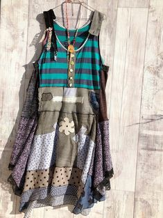 Eco Patchwork Long Boho Strapless Dress HippieVintage Embroidery & Lace Prairie Chic Rustic Art Grunge Rock Recycled Clothing M / L Hippie Style, Boho Hippie, Hippie Vintage, Altered Couture, Recycled Dress, Recycled Clothing, Redo Clothes, Vintage Embroidery, Embroidery Ideas