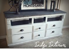 Vintage Black and White Dresser / Buffet / Changing Table / Tv Console w/ Baskets