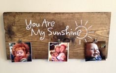 Wood sign, you are my sunshine, rustic sign, picture holder, hand painted sign, stained wood sign, by Justasmalltowngirlx2 on Etsy