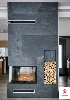 Beautiful Stone Veneer Wall Design Ideas - If you thought stone veneer was just for front facing a home to add curb appeal then you only know half the story. Real thin stone veneer is a beautif. Stone Veneer Fireplace, Real Stone Veneer, Home Fireplace, Modern Fireplace, Fireplace Design, Slate Fireplace, Stone Wall Design, Tv Wall Design, Stone Interior