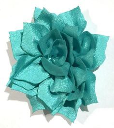 """Teal green 3"""" poinsettia flowers. For headband making, barefoot baby sandals, sewing. Fold over elastic, rhinestones, appliqués & more also available."""