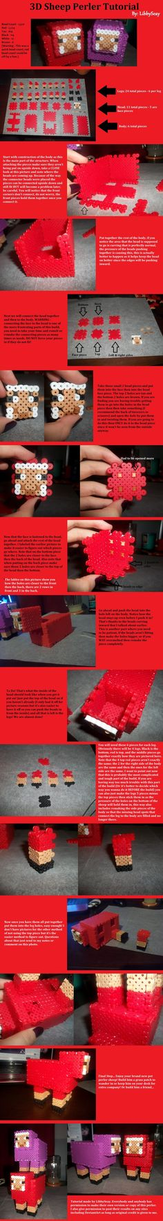 3D Minecraft Sheep Perler Tutorial by Libbyseay on deviantART