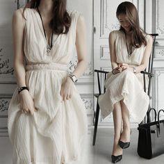 希臘女神V領縮腰露背洋裝#prom#dress%Korean#fashion