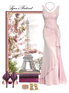 """GOWNS & TOUR EIFFEL -  #3701"" by lynnspinterest ❤ liked on Polyvore featuring Van Cleef & Arpels, Aime, Manolo Blahnik, Bling Jewelry and Roger Vivier"