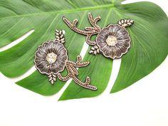 Set of 2 Black Indian boho flower appliques Gold and Black