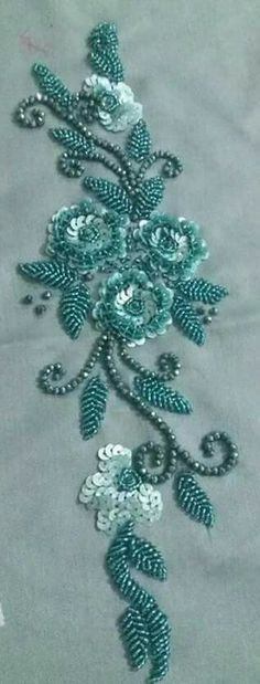 Zardozi Embroidery, Tambour Embroidery, Couture Embroidery, Embroidery Fashion, Ribbon Embroidery, Embroidery Neck Designs, Bead Embroidery Patterns, Embroidery Jewelry, Tambour Beading