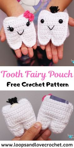 Crochet Tooth Fairy Pouch - knitting is as easy as 3 knitting is . - Crochet Tooth Fairy Pouch – knitting is as easy as 3 Knitting boils down to three essential - Crochet Simple, Love Crochet, Crochet Gifts, Crochet For Kids, Crochet Toys, Knit Crochet, Crochet For Easter, Crochet Baby Stuff, Things To Crochet