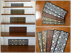 """Stair Design Ideas / Staircase Design Ideas / Spring Decor / Visit www.tributedesigns.etsy.com to see the new """"Mini"""" collection. Dress your stairs for less - similar to look of a traditional stair runner, mini's are 15 3/4"""" wide and 5"""" tall. They may be small but the look they create is grand!"""
