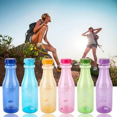 2016 Popular 650ml Fashion Unbreakable Creative Water Bottle Plastic Portable Sports Cup Bottle With 2 Lid And A Straw