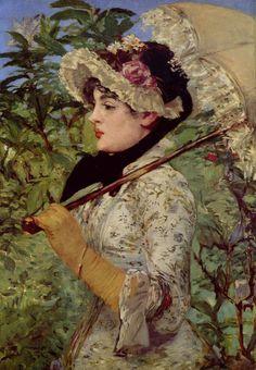Edouard Manet.  Frühling (Jeanne). 1881, Öl auf Leinwand, 73 × 51 cm. New York, Sammlung H. P. Bingham. Frankreich. Impressionismus.  KO 01718