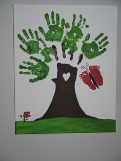 Another Pinner said..My family gave this beautiful work of art, soon to be hanging in my living room tonight for my birthday. The leaves were made using both my grandson's hand prints, my daughters fingers for the branches, my granddaughters feet for the butterfly & my daughters finger tips for the flower petals ... priceless!!!  <3