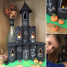 How to make a spooky Halloween mansion Halloween Castle made from toilet roll tubes by Lottie Makes Spooky Halloween, Halloween Scene, Halloween Crafts For Kids, Halloween Activities, Diy Halloween Decorations, Fun Crafts, Decor Crafts, Deco Haloween, Halloween Infantil