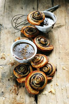 chocolate swirl pastries with hot chocolate