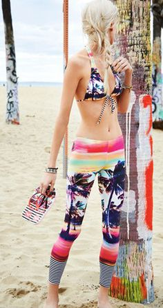 Wild Style // Roxy Sunset Stripes Surf Legging
