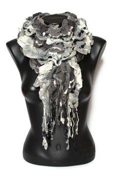 SALE Ruffle Fashion Scarf  Black Fringe Scarf  by CRAZYSPIRIT, $10.00