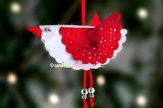 decorazione fai da te natale, decorazioni natale in feltro, uccellino in feltro, addobbi natale fai da te,