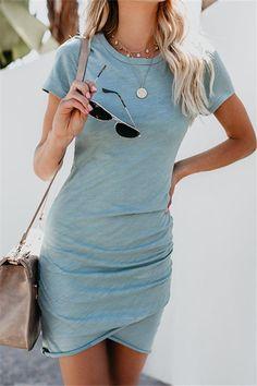 Walant Womens Short Sleeve Sheath Dress Solid Color Irregular Hem Summer Bodycon Mini Dress at Women's Clothing store: Mode Outfits, Casual Outfits, Fashion Outfits, Fall Casual Dresses, Dress Casual, Fashion Clothes, Womens Fashion, Style Fashion, Girl Fashion