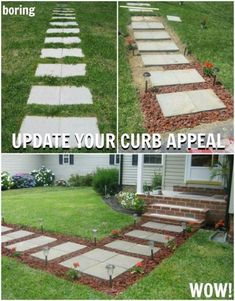Curb Appeal Hacks To Increase Your Home Value Transform Walkway Pavers with Lava Rocks. Curb Appeal Hacks and Tips – Frugal Home Ideas to Increase Your Home Value. Update the appearance for your home for little expense on Frugal Coupon Living. Easy Home Decor, Cheap Home Decor, Diy Yard Decor, Diy Patio, Yard Decorations, Outdoor Living, Outdoor Decor, Front Yard Landscaping, Backyard Pavers