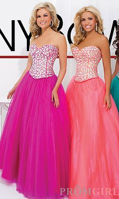 Strapless Sweetheart Ball Gown by Tony Bowls at PromGirl.com
