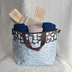 Coffee and Tea Thermal Tote Gift Basket - Navy Tan and Brown - Kitchen Towels-Hot Pads-Wood Utensils