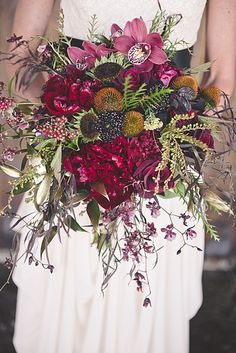 Flower bouquet in deeply colored hues.