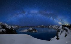 Lake under the Stars Crater Lake under the Stars by Ben Canales, I may not ever get to see this, but WOW.Crater Lake under the Stars by Ben Canales, I may not ever get to see this, but WOW. Crater Lake Oregon, Grand Teton National, Starry Night Sky, Night Skies, Starry Eyed, Crater Lake National Park, National Parks, Landscape Photos, Lakes