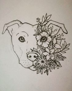 Turn this into a lotus tattoo!! Staffy tattoo Staffordshire bull terrier Floral Flower tattoo - Tap the pin for the most adorable pawtastic fur baby apparel! You'll love the dog clothes and cat clothes! <3 #tattoosforwomen