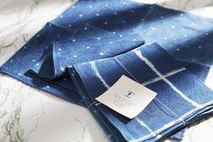 アーリーバーズトーキョーの藍染テーブルナプキン Britt's Growing Indigo collection for Early Birds inside Vogue Japan,  July 2016 Tea Towels, Indigo, Interior, Blue, Dish Towels, Indigo Dye, Indoor, Interiors, Flour Sack Towels