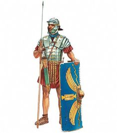 A Roman legionary with spear, sword and shield