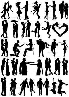 Romantic couple silhouettes. Included files: Ai, Eps.
