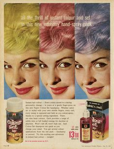 Pastel Hair Color: How to get it no commitment 1960 Hairstyles, Vintage Hairstyles, Hair And Makeup Tips, Hair Makeup, Makeup Ads, Hair Color Swatches, Unnatural Hair Color, Winter Beauty Tips, French Beauty Secrets