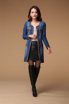 2016 Autumn Fashion Celebrity Style Slim Jeans Womens Denim Dress Blue Solid Long Sleeve Jeans Dress A3246 - OK Fashion