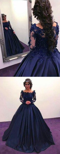 prom dresses navy blue Navy Blue Ball Gown Quinceanera Dresses with Long Sleeves Prom Dresses Long Sleeve Evening Dresses, Prom Dresses Long With Sleeves, Long Prom Gowns, Dress Long, Blue Ball Gowns, Ball Dresses, Prom Dress With Train, Dress Prom, Dress Formal