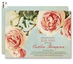 Rose Bridal Shower Invitations Vintage Botanical Wedding Personalized Boutique Invites with Envelopes - Caitlin style - Bridal shower invitations (*Amazon Partner-Link)
