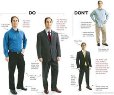 Business Casual do's and don'ts for men's attire.