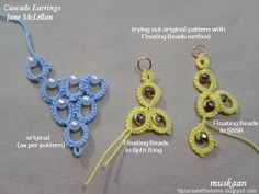 Cascade earrings by Jane McLellan and substituting Floating Beads method as experiment