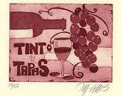 Gravure/gravure/artprint/home interior/devis/rouge vin/espagnol/tapas/nourriture/cuisine/vins/raisins/verre à vin/vin rioja/espagnol/bouteille vin