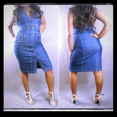 Pinstripe belted denim jean halter dress Brand New.  This one of a kind dress will flatter your figure, while giving you that stylish edge. Dresses