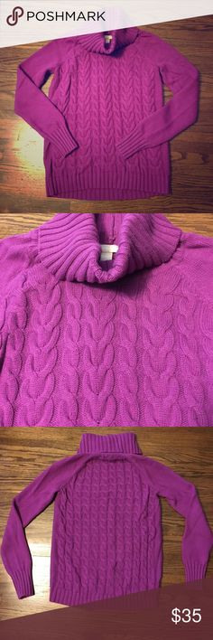 Banana republic oversized sweater Super cozy oversized sweater with cable knit design. Color is dark magenta and shade is most accurately shown in the cover photo. 40% wool, 30% nylon, 25% viscose, 5% cashmere. Banana Republic Sweaters Cowl & Turtlenecks