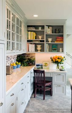 Beautiful kitchen desk … Transitional kitchen design with Shaker style cabinets … – Kitchen Pantry Cabinets Designs Kitchen Office Nook, Kitchen Desk Areas, Kitchen Desks, Kitchen Pantry Cabinets, Kitchen Corner, New Kitchen, Office Cabinets, Kitchen Small, Pantry Office