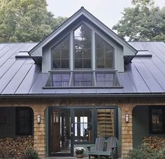 Glass Gable Fixed Windows - opens up the entry