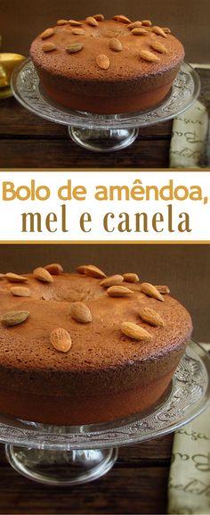 Bolo de amêndoa, mel e canela   Food From Portugal. Bolo de amêndoa, mel e canela, ideal para uma tarde fria de Inverno, ideal para servir com chá. Experimente! #receita #bolo #amêndoa #mel #canela