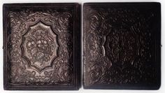 1/6th Plate Composite Case (Wood/Paper Mache) : Cases like this were common (ca.1855-1865) for use of daguerreotypes, ambrotypes, and early tintype photographs. They can be easily mistaken for the embossed leather cases that resemble them, but upon close inspection the difference can be revealed. The wooden body is covered with an embossed paper mache coating (similar to leather cases)
