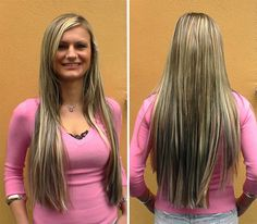Hair Extensions  - Haarverlängerung mit Kunsthaartressen blond gesträhnt mittels Weaving  www.Boostylez.de